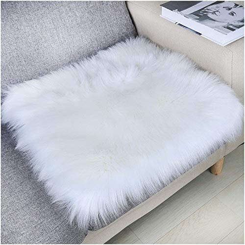 (YJ.GWL Soft High Pile White Faux Sheepskin Fur Chair Sofa Cover (20''x20''), Square Area Rugs Seat Car Cushion Throw)
