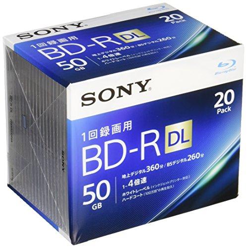 Sony 4X BD-R DL 20 pack 50GB White Printable 20BNR2VJPS4 by Sony