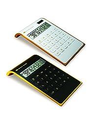 ?Letitfly? Calculadora, electrónica para la oficina y el hogar, calculadora de escritorio de doble alimentación, alimentación solar, pantalla LCD inclinada, diseño inclinado, color negro., Blanco