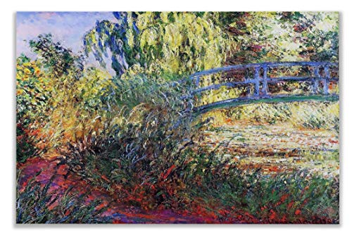 (Monet Wall Art Collection The Japanese Bridge Lily Pond and Path by The Water, 1900 2 Canvas Prints Wrapped Gallery Wall Art | Stretched and Framed Ready to Hang 30X40)