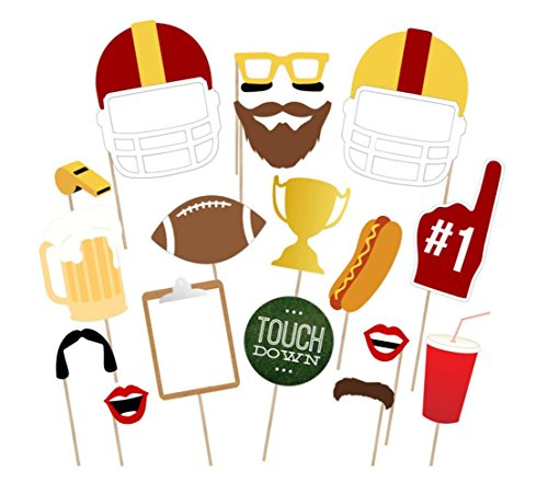 Super Bowl Photo Booth Props Kits by Partico, Party Favor for Football Party Theme Supplies Decorations - 17count]()