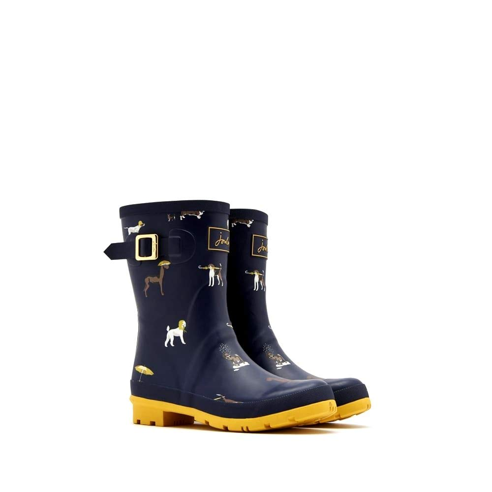 Joules Women's Molly Welly Print Rain Boot, French Navy Dogs w/Yellow, 7