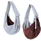 iPrimio Dog/Cat Hands Free - Reversible Sling Carrier Bag / Papoose. Super Soft Pouch and Tote - Grey