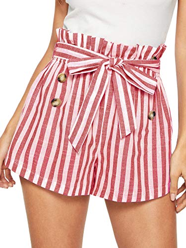 SweatyRocks Women's Bow Tie Waist Striped Summer Beach Shorts with Pockets Red Medium