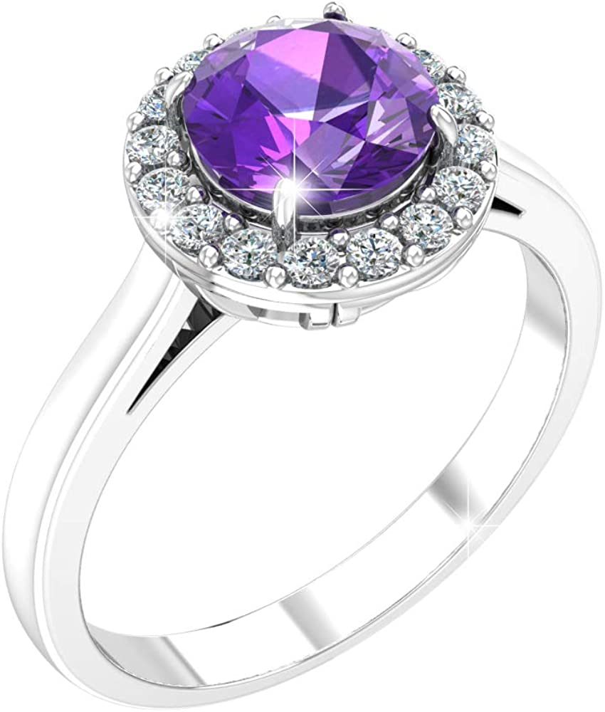 Belinda Jewelz Womens 925 Sterling Silver Classic Halo Solitaire Gemstone Ring