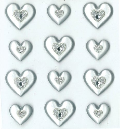 Dimensional Heart (Jolee's Boutique Cabochons Dimensional Stickers, Silver Hearts)