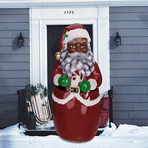 Wffo Fashionlite Christmas Xmas Santa Claus Lighted Yard Party Decoration LED Light Effect Santa Statue with Free Three AAA Batterys (Black Ship from USA) ()