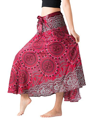 (Bangkokpants Women's Long Hippie Bohemian Skirt Gypsy Dress Boho Clothes Flowers One Size Fits (Bohorose Red, One Size))