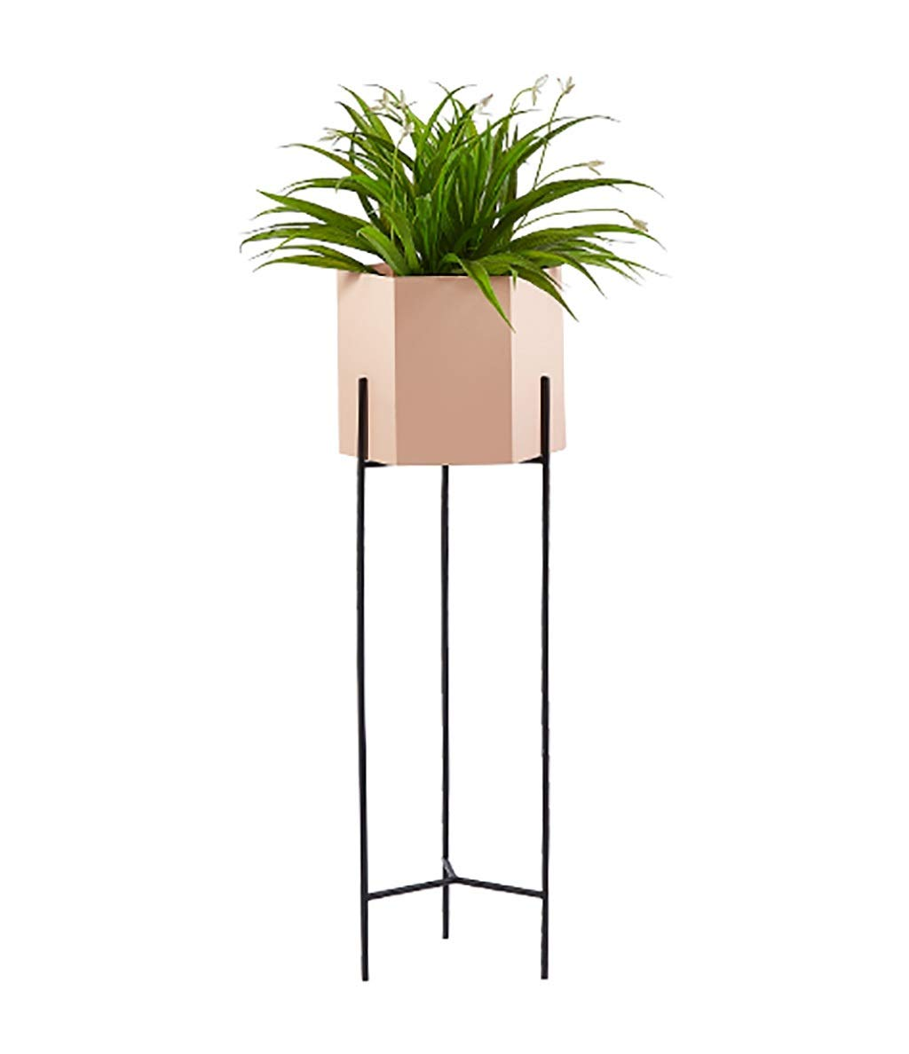Flower Stand for Living Room, Nordic Style Plant Display Stand, Metal Decorative Flower Stand (Blue/Pink) (Color : Pink, Size : 8026cm)