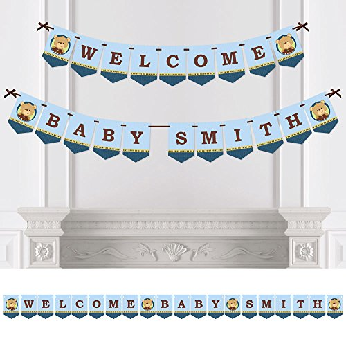 Big Dot of Happiness Custom Baby Boy Teddy Bear - Personalized Baby Shower Bunting Banner & Decorations - Welcome Baby Custom Name Banner