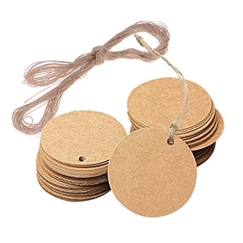 100Pcs Mini Kraft Paper Gift Tag With 66 Feet Jute Twine, Round Shaped 0.78