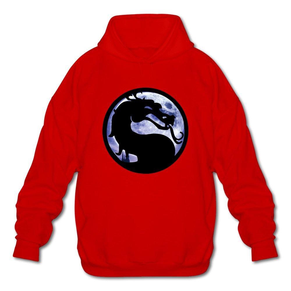 FZLB Mens Mortal Kombat Original Logo Long Sleeve Hooded Sweatshirt Ash