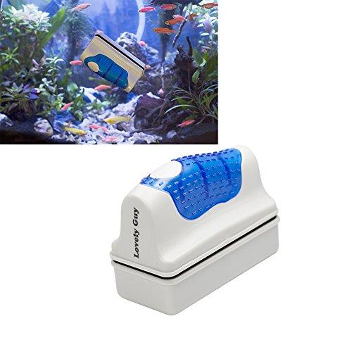 Aquarium Magnetic Glass Cleaner (medium) for Scrub Control Manage 15 ~ 50gal fish tank Algae – Around Adult Fist Size Aquatic Floating Brush by Lovely-Guy
