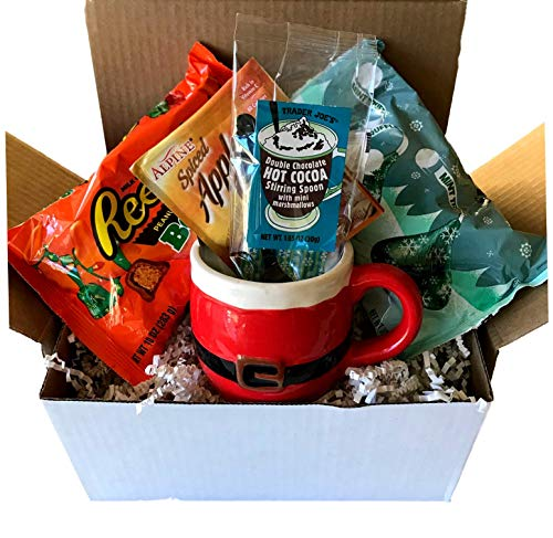 Complete Taste Of Christmas Chocolate Gift Box! Reese's Bells, Hershey's Mint Truffle Kisses, Apple Cider, Hot Chocolate, and Cinnamon Roll Mug Treat With A Santa Mug! Sample Every Holiday Flavor!
