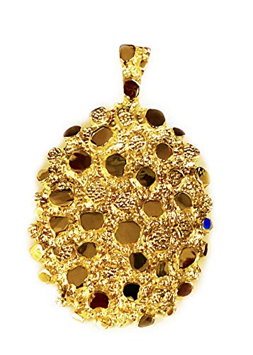 14k Solid Yellow Gold NUGGET Design Fashion Charm Pendant 47 grams ()