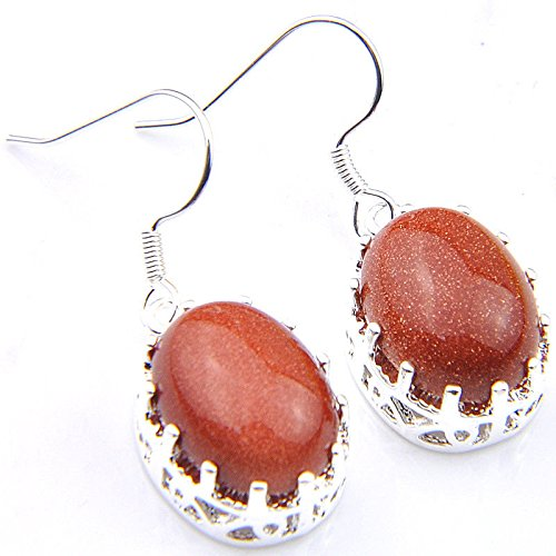 patcharin shop Natural Handmade Oval Cut STARS SUN SITAR Gems Silver Dangle Hook Earrings (Ring Oval Sun Diamond)