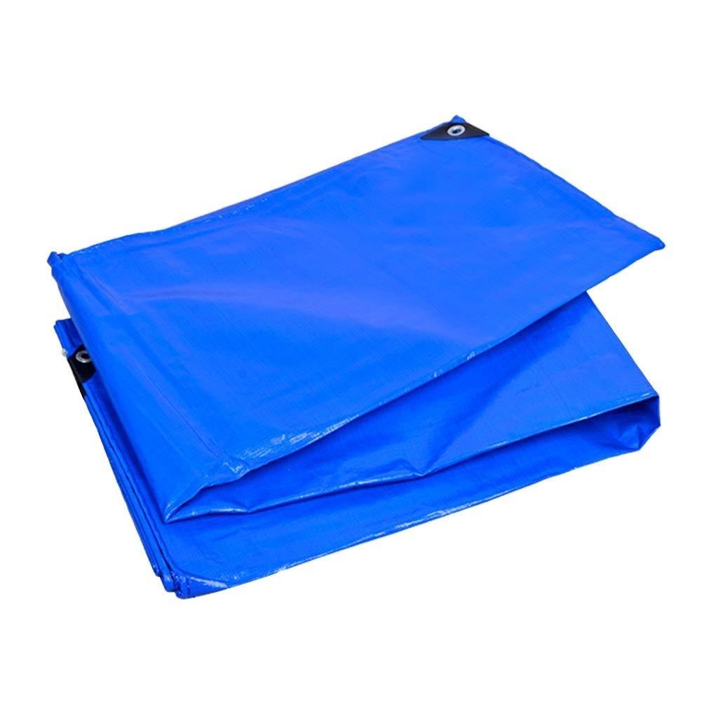 防水シート両面防水タープ、雨防止日焼け止めカバークロス、トレーラー用ヘビーデューティ車テントボート、 FENGMIMG (色 : 青, サイズ さいず : 5x5M) 5x5M 青 B07QLX64TK