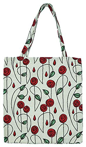 Signare Tapestry Reusable Grocery Eco Friendly Shopping Tote Bag in Mackintosh Design (Simple Rose)