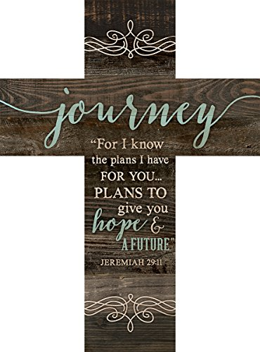 Inspirational Cross (Journey Jeremiah 29:11 Rustic Dark 14 x 10 Wood Wall Art Cross Plaque)