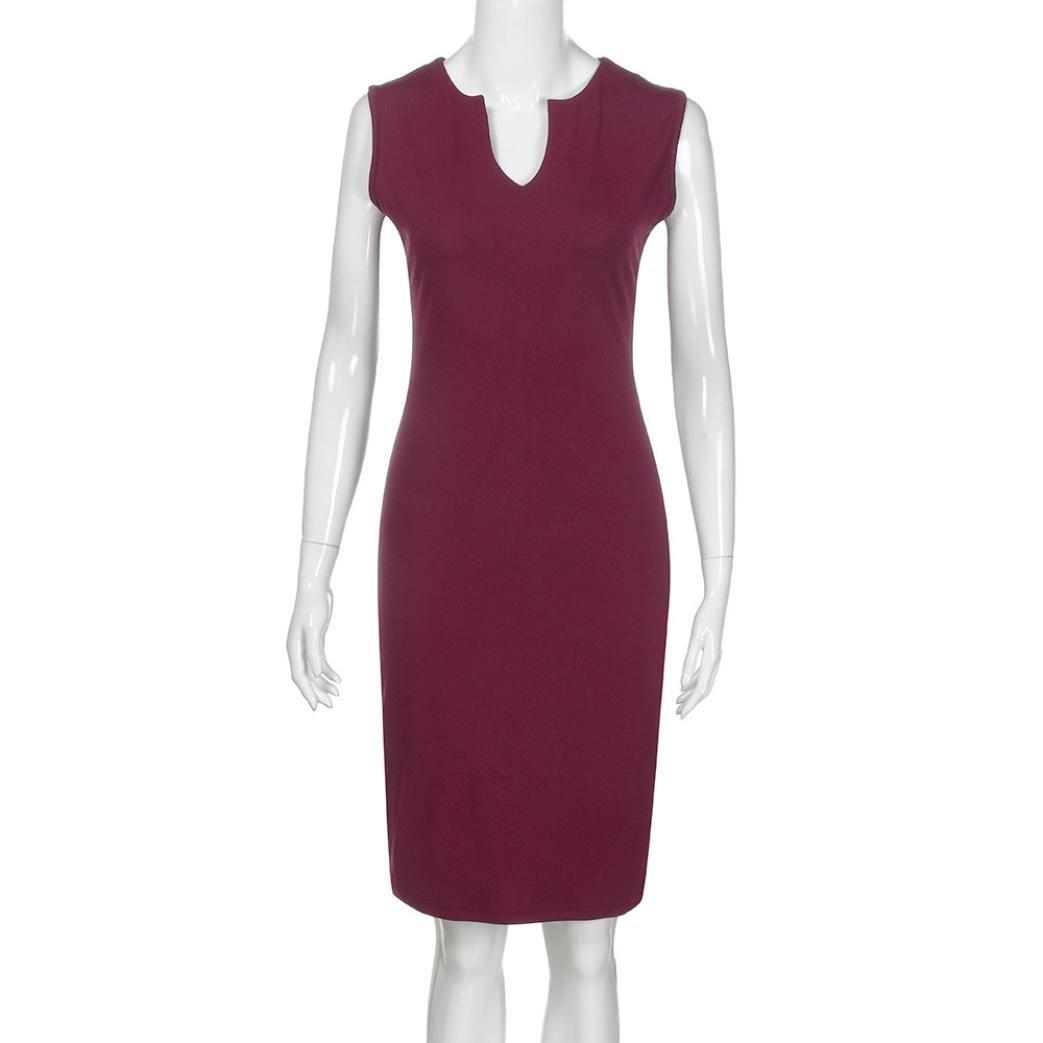 QinMM Damen Wear zu Arbeiten B/üro Sleeveless V-Ausschnitt Bodycon Bleistift Kleid Sommer Casual Stilvolle Schwarz Wein Marine S-XL