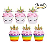 #7: Unicorn Cupcake Toppers and Wrappers Double Sided Kids Party Cake Decorations Set for Christmas Birthday Party Baby Shower Wedding Cake Decor(24 Pack)