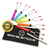 Swivelsticks Marshmallow Roasting Sticks - 6 Rotating & Telescoping Forks + 10 FREE Smores Skewers with Storage Bag, eBook, Video and Recipes - 34 Inch Extendable For Kids Campfire Camping Fire Pit