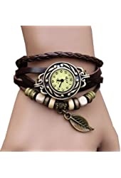 Classic Quartz Fashion Leaves Weave Wrap Around Leather Bracelet Classic Elegant Leather Strap Roma Number Lady Woman Wrist Watch