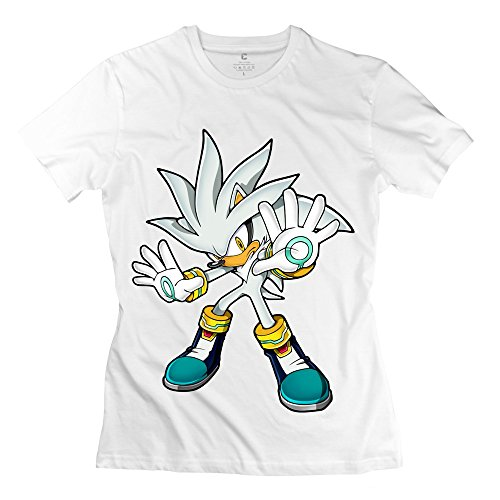 YMGG Womens Tees Sonic Silver Back To The Origins Size M White (Female Sonic The Hedgehog)