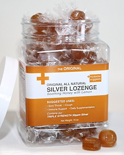 Sore Throat Lozenges Honey Lemon - Original All Natural Silver Lozenges - Soothing Honey with Lemon: The Perfect Cough Drop for Cough, Throat & Mouth Health or Even Daily Supplementation & Immune Support, Contains 30ppm Silver