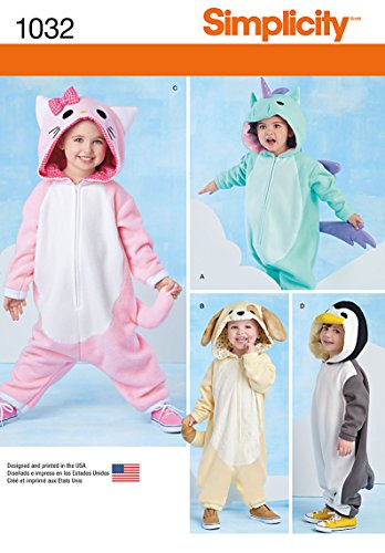 Simplicity Creative Patterns US1032A Toddlers Animal Costumes, Size A (1/2-1-2-3-4) -