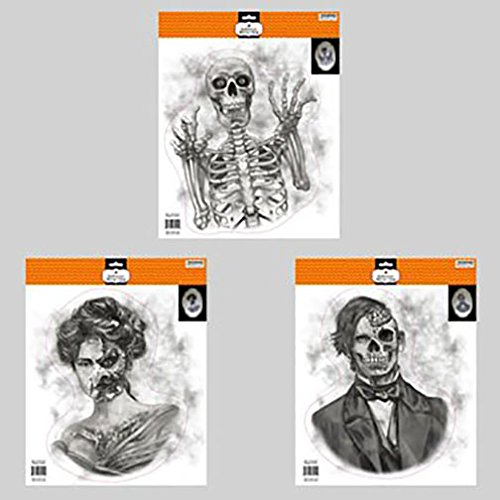 Scary Halloween Mirror Window Clings Zombie Ghost Goblin Skeletons (Set of 3) ()