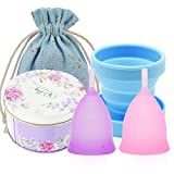 SPEQUIX 2 PCS Menstrual Cup w/ 1 PCS Sterilizing Cup Set for Women
