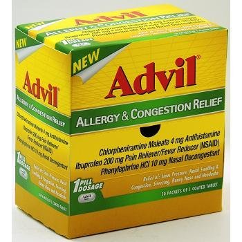 Advil Allergy & Soulagement de la congestion 200mg-douleur antipyrétique: 50 sachets de 1 comprimé enrobé - Tj18