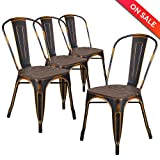 LCH Metal Dining Chair Indoor/Outdoor Stackable with High Back and Wood Top, Set of 4, Bronze Review