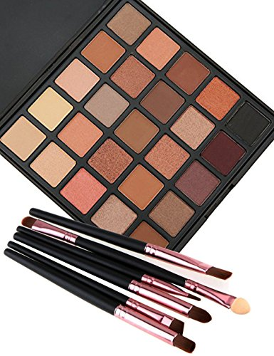Glitter Makeup Eyeshadow Palette,Vodisa 25 Color Smokey Warm Eye Shadows Pallet with Make Up Brushes Kit Waterproof Beauty Cosmetics Matte Shimmer Warm Neutral High Pigment Eyeshadows (25-A)