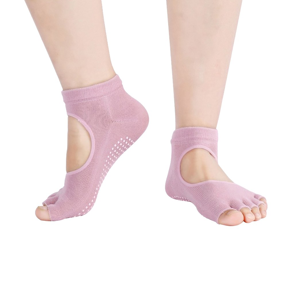 Baiyu 1 Pair Yoga Pilates Half Toeless Ankle Socks Massage Anti-slip With Full Grip for Dance Exercise Gym Barre Ballet Martial Arts (Pink/Purple/Green/Grey/Black/Blue)