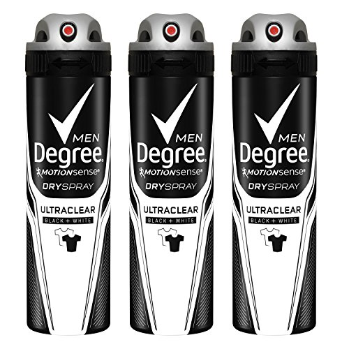 Degree Men UltraClear Antiperspirant Dry Spray, Black + White 3.8 oz, 3 count