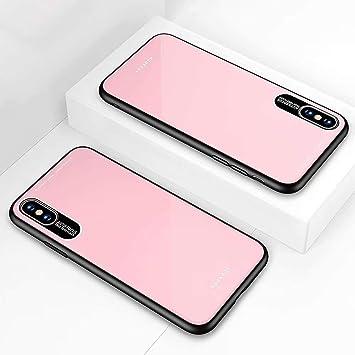 DYGG Compatible con Funda para Apple iPhone X/iPhone XS, Estuche Carcasa Forro Ultra Delgada TPU Parachoques, Trasera de Vidrio Templado - Rosado