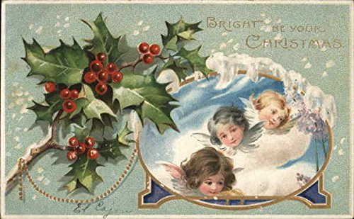 Bright Be Your Christmas Angels Original Vintage Postcard