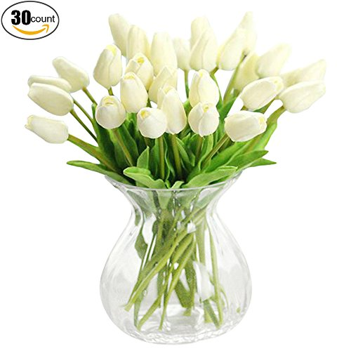 XHSP 30 pcs Real-touch Artificial Tulip Flowers Home Wedding Party Decor (Tulip Centerpiece)