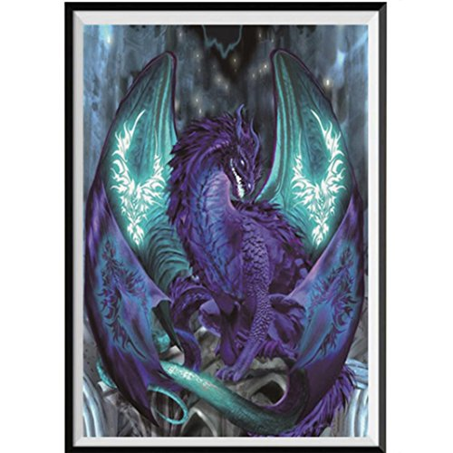 Diamond Painting Kits For Adults,DIY 5D-Black Dragon-Crystal Rhinestone Diamond Embroidery Paintings Pictures Arts Craft for Home Wall ()