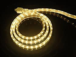 Cbconcept Ul Listed 65 Feet 7200 Lumen 3000k Warm White Dimmable 110 120v Ac Flexible Flat Led Strip Rope Light 1200 Units 3528 Smd Leds Indoor Outdoor Use Accessories Included Ready To Use