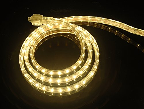 CBConcept UL Listed, 65 Feet, 7200 Lumen, 3000K Warm White, Dimmable, 110-120V AC Flexible Flat LED Strip Rope Light, 1200 Units 3528 SMD LEDs, Indoor/Outdoor Use, Accessories Included, [Ready to use] (Outdoor Rope Lighting)