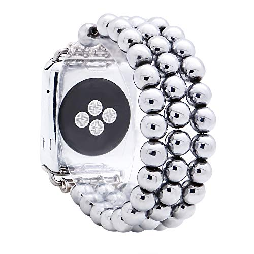 Beaded Elastic - KAI Top Compatible with iWatch Band 38mm 42mm, Unisex Fashion Handmade Beaded Elastic Jewelry Bracelet Band Strap Replacement iWatch Bands Series 3 2 1 (Silver 8mm Bead, 42mm)