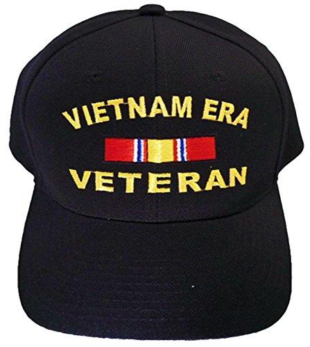 Vitenam ERA Cap and and Bumper Sticker Mens Black Military Baseball Hat
