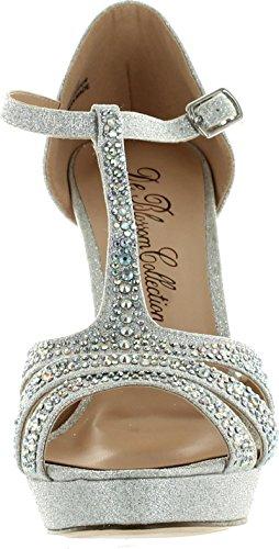 Deblossom De Blossom Womens Daisy-19 T-strap Bling Incredibili Scarpe Da Sera Eleganti In Argento