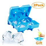 2 Pack Diamond Silicone Ice Cube Trays with Lid, Bella Vino BPA Free Secondary Vulcanized Multifunctional Storage Containers for Ice, Candy, Cake and Chocolate (Blue)