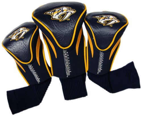 Team Golf NHL Nashville Predators Contour Golf Club Headcovers (3 Count), Numbered 1, 3, & X, Fits Oversized Drivers, Utility, Rescue & Fairway Clubs, Velour lined for Extra Club Protection