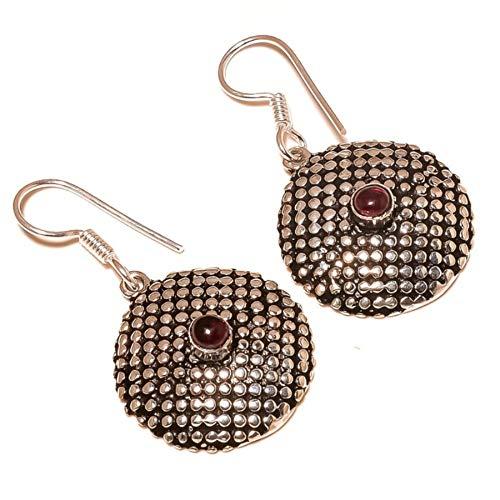jewels house Pink Tourmaline Cabochon Gemstone Silver Plated Handmade Oxidized Drop Dangle Earrings for Women