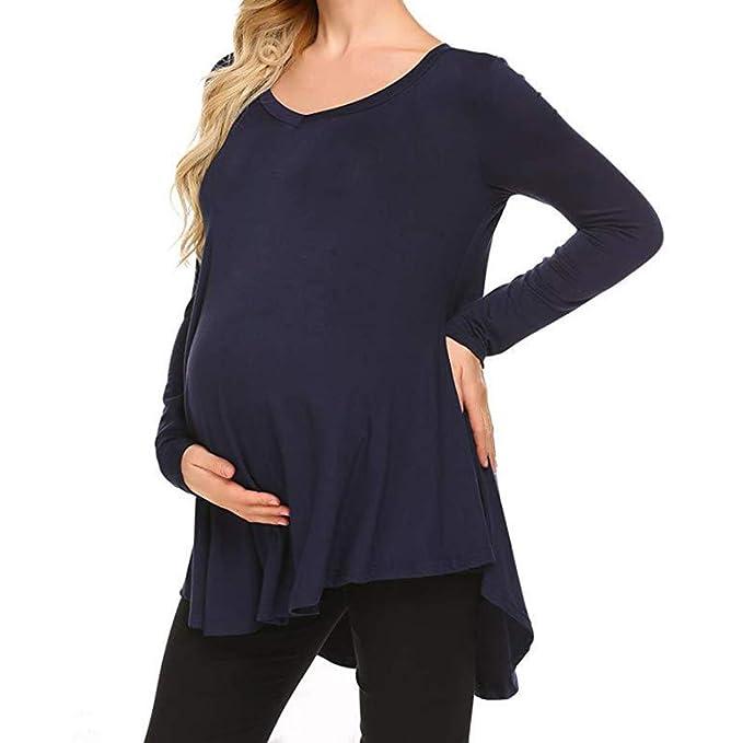 Yying Mujeres Embarazadas Tops de Manga Larga Embarazadas Sexy Blusas con Cuello en V Camisas Casual Maternidad Clothings: Amazon.es: Ropa y accesorios